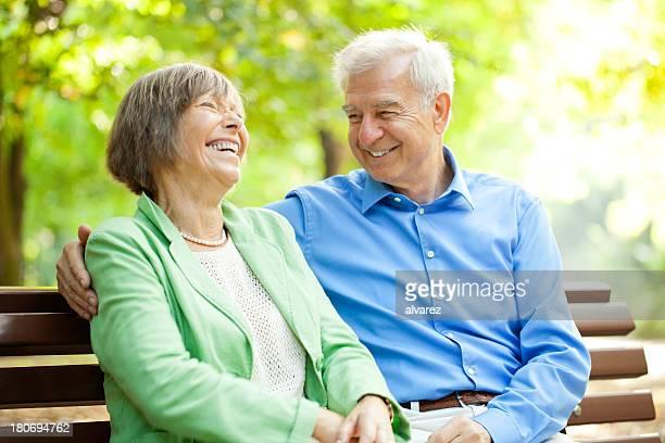 Senior couple enjoying time together at the park