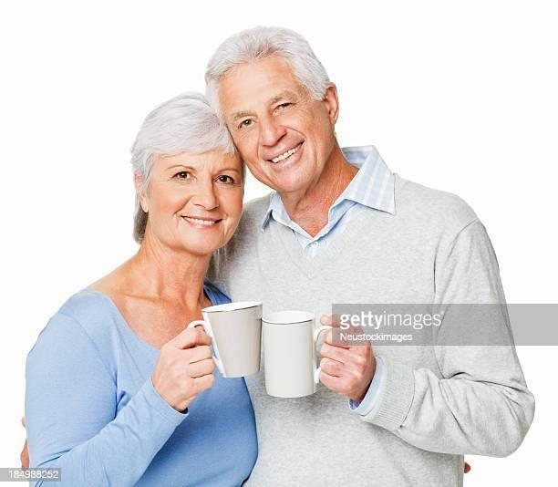 年配のカップルが、コーヒー-絶縁