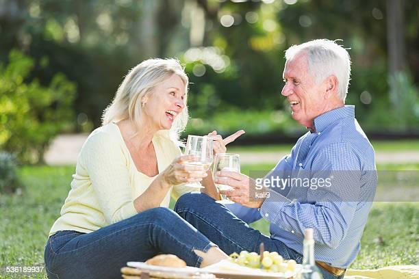 Senior couple having picnic, drinking wine