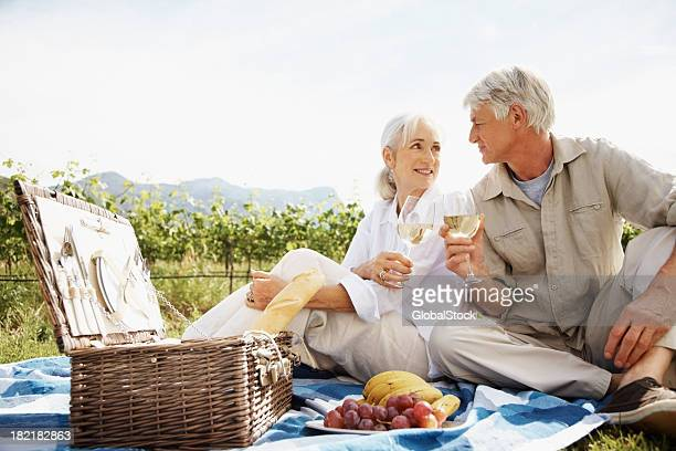 Senior Couple Having Wine at Picnic