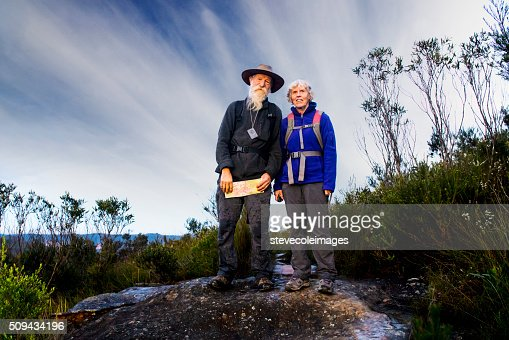 Senior Couple Hiking in the Australia outback. : Stock Photo
