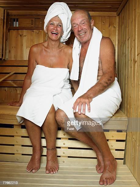 Senior Couple in Sauna