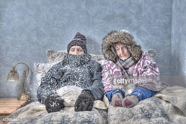 Senior couple in snow-covered bed