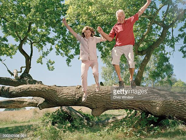 Senior couple jumping off tree trunk hand in hand