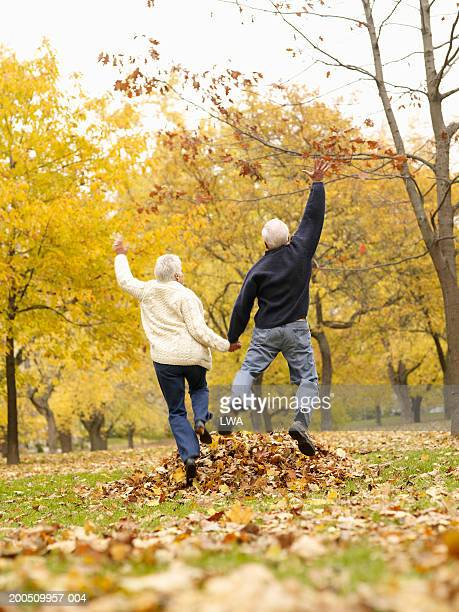 Senior couple jumping on autumn leaves in park, rear view