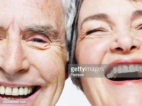 Senior couple laughing, close-up : Stock Photo
