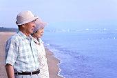 Senior couple looking at sea, Toyama Prefecture, Honshu, Japan