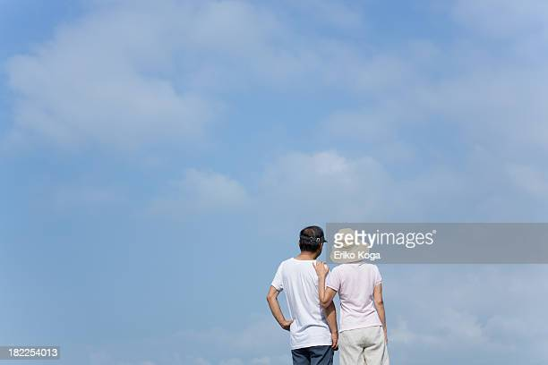 Senior Couple Looking at Sky