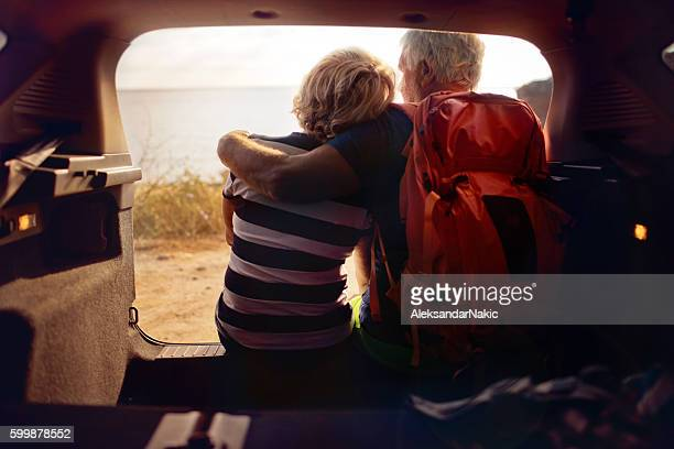 Senior couple on a road trip