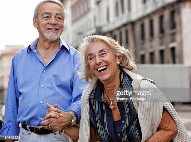 Senior couple on a sightseeing tour of Europe
