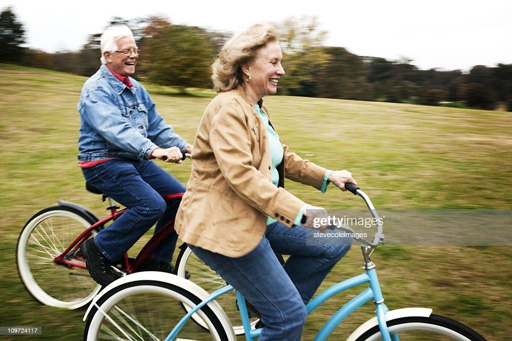 Senior Couple on Bikes : Stock Photo