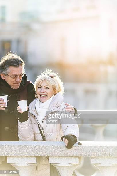 Senior couple on bridge in Ljubljana, Slovenia
