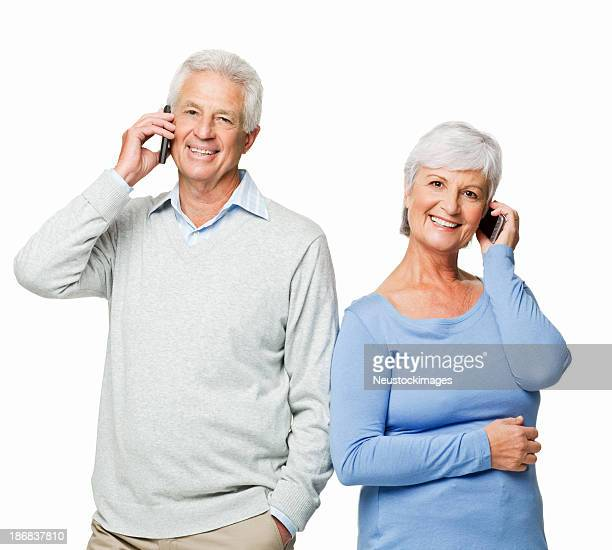 Senior Couple on Cellphones - Isolated