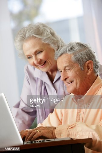 Senior Couple on Computer : Stock Photo