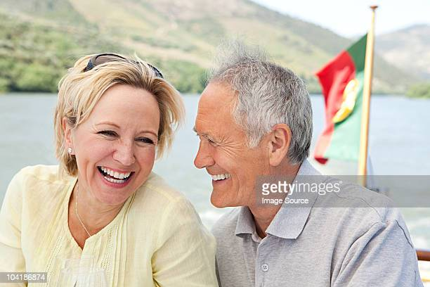 Senior couple on holiday on boat