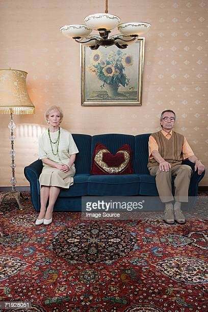 Senior couple on sofa