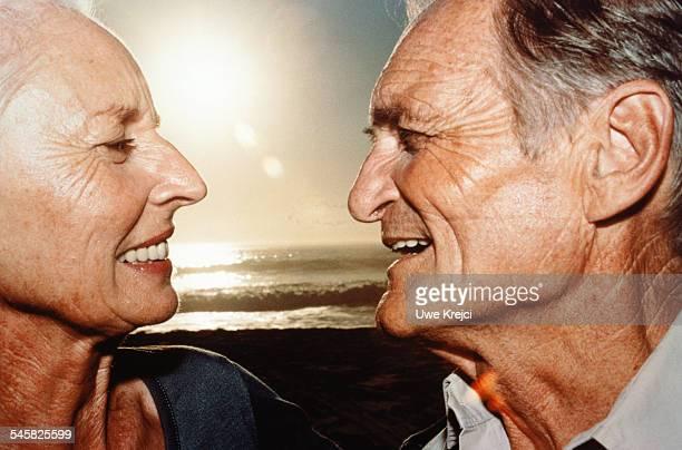 Senior couple on the beach, , shot