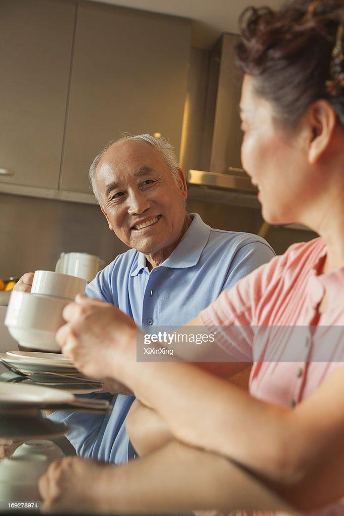 Senior couple sharing tea : Stock Photo