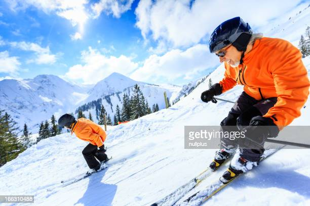 couple senior ski