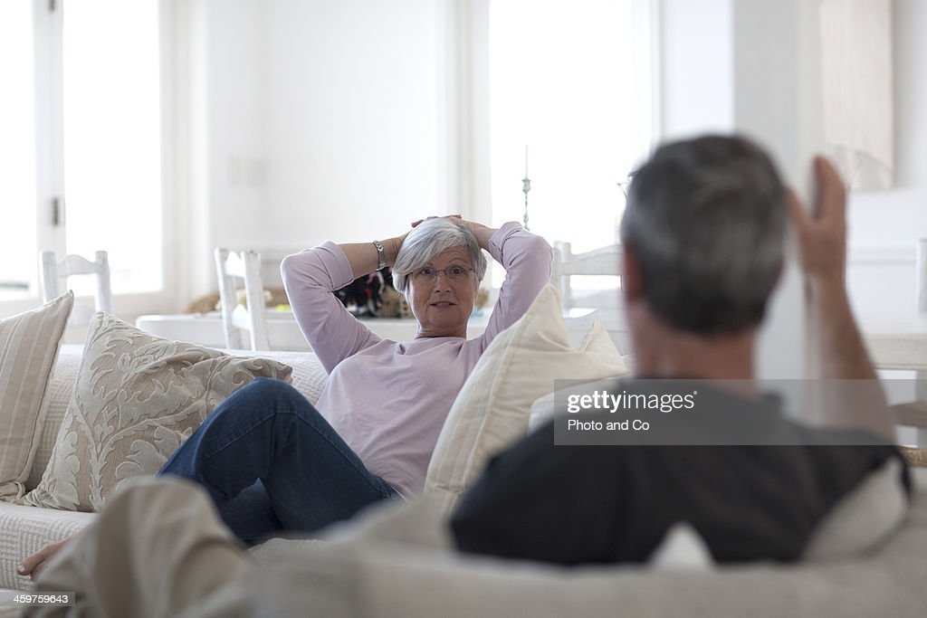 Senior couple talking : Stock Photo