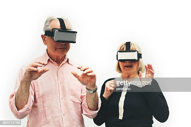 Senior couple wearing virtual reality headset, Paris, France
