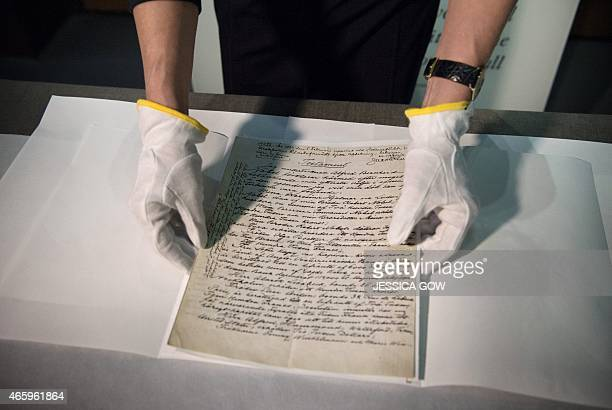 Senior Curator at the Nobel Museum Margrit Wettstein presents the testament of Swedish scientist Alfred Nobel during a press meeting on March 12 2015...