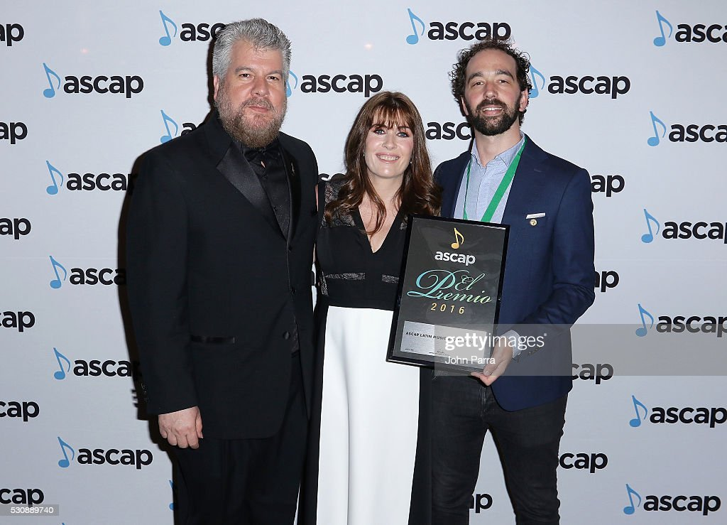 Senior Director, Latin Jorge Rodriguez, ASCAP VP, Latin Gabriela Gonzalez and ASCAP Latin Music Award winner Alexis Roman Estiz arrive at the 2016 ASCAP Latin Music Awards on May 11, 2016 in Miami, Florida.