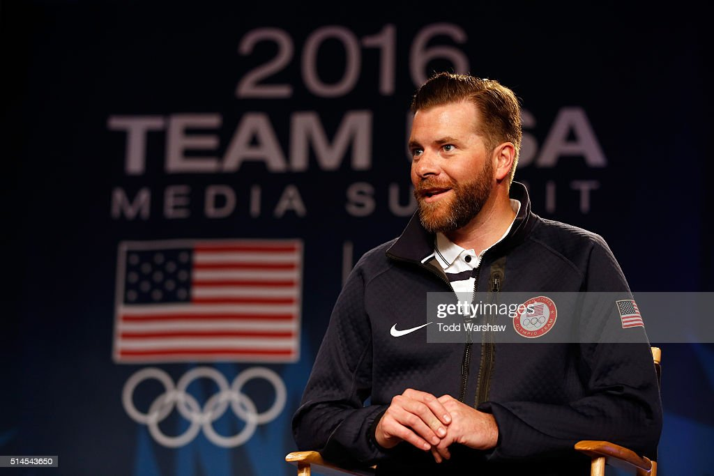 Senior Director of Communications Mark Jones addresses the media at the USOC Olympic Media Summit at The Beverly Hilton Hotel on March 9, 2016 in Beverly Hills, California.
