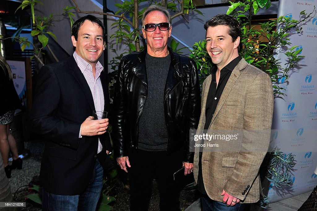 Senior Director of Revenue Management at Travaasa Adam Hawthorne, actor Peter Fonda and co-founder of Travaasa Chris Manning attend Travaasa Resorts official LA experience event at Kinara Spa on March 19, 2013 in Los Angeles, California.
