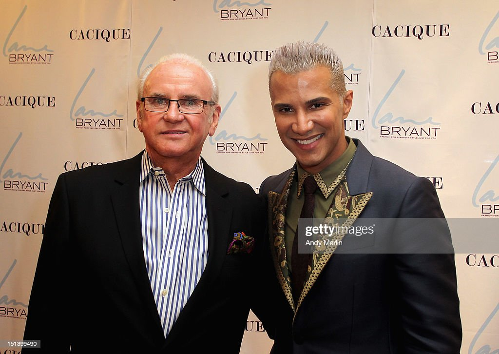 Senior Director of Trend/Color Robert Rutkauskas (L) and <a gi-track='captionPersonalityLinkClicked' href=/galleries/search?phrase=Jay+Manuel&family=editorial&specificpeople=557434 ng-click='$event.stopPropagation()'>Jay Manuel</a> pose for a photo during Fashion Guru <a gi-track='captionPersonalityLinkClicked' href=/galleries/search?phrase=Jay+Manuel&family=editorial&specificpeople=557434 ng-click='$event.stopPropagation()'>Jay Manuel</a> Hosts Lane Bryant's Fashion Night Out on September 6, 2012 in Brooklyn, New York.