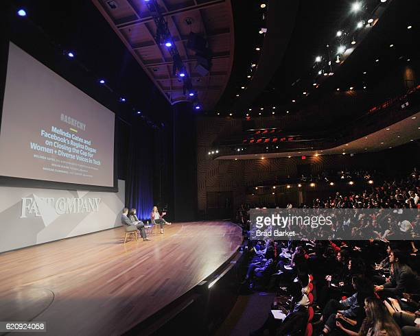 Senior Editor Digital at Fast Company Morgan Clendaniel Head of Building 8 at Facebook Regina Dugan and Philanthropist Melinda Gates speak onstage...