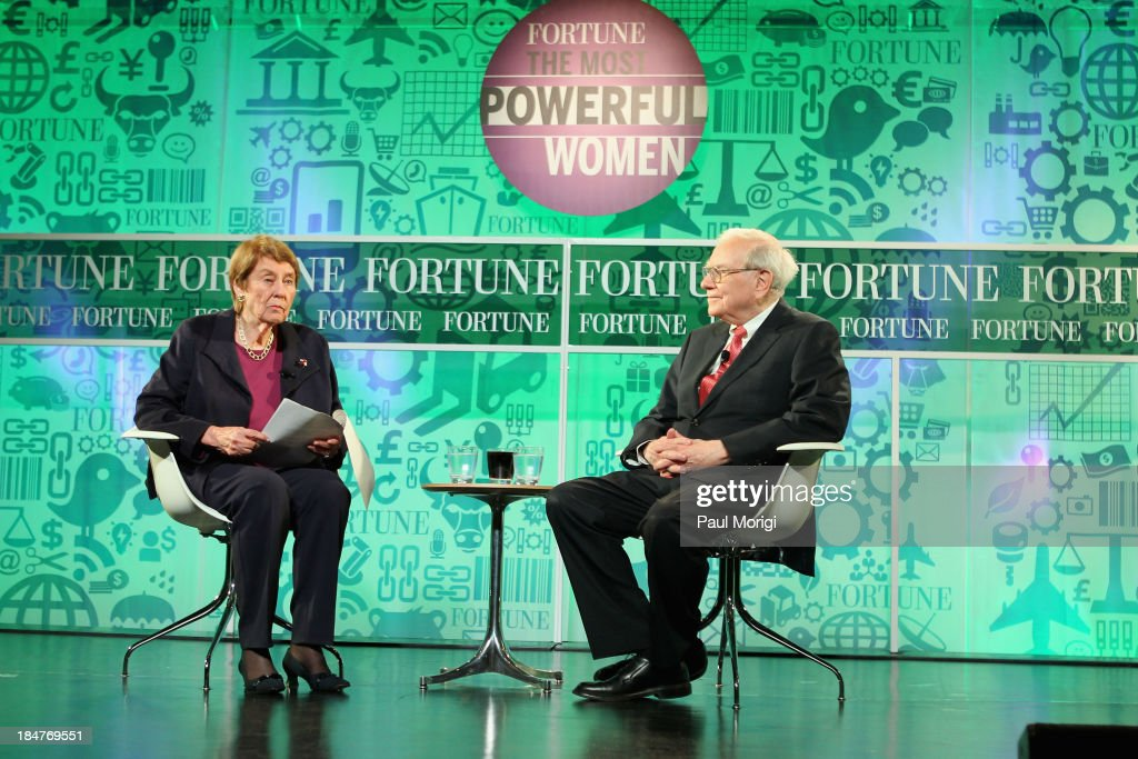 Senior editor-at-large at Fortune magazine Carol Loomis and <a gi-track='captionPersonalityLinkClicked' href=/galleries/search?phrase=Warren+Buffett&family=editorial&specificpeople=533069 ng-click='$event.stopPropagation()'>Warren Buffett</a> speak onstage at the FORTUNE Most Powerful Women Summit on October 16, 2013 in Washington, DC.