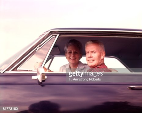 Senior Elderly Man Woman Couple In Car Autmobile Cars Couples Men Women Autos Auto. : Stock Photo