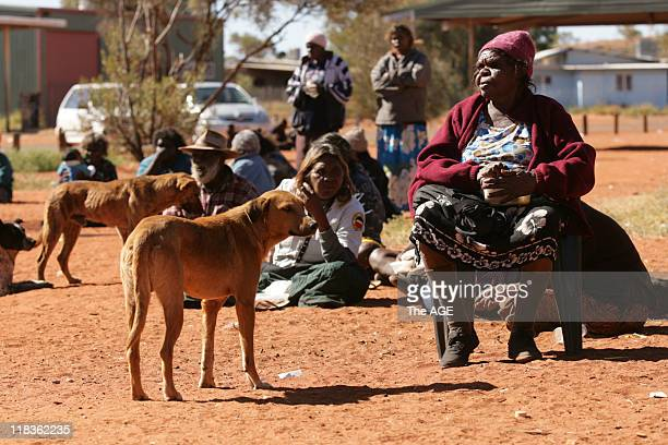 Senior elders attend a town meeting in the Aboriginal community of Mutitjulu near Uluru in the Northern Territory The town is the first to be...