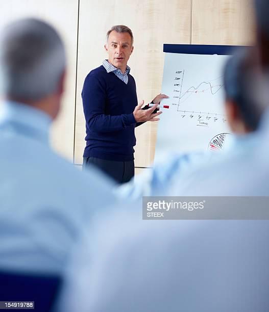 Senior executive giving presentation to group