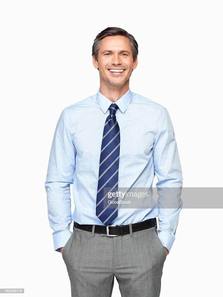 Senior executive smiling against white background