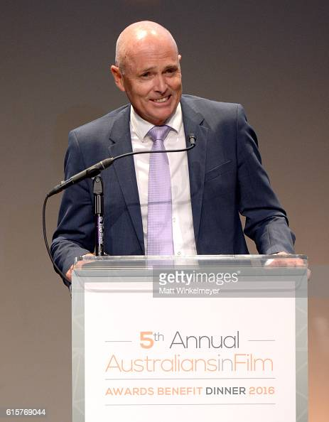 Senior Executive Vice President of Qantas Stephen Thompson speaks onstage during Australians In Film's 5th Annual Awards Gala at the NeueHouse...
