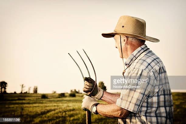Senior agriculteur à la recherche de son domaine