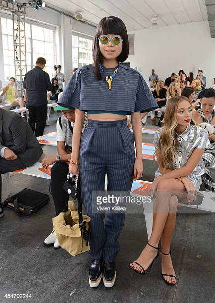 Senior fashion editor of ELLE China Leaf Greener attends the Tanya Taylor fashion show during MercedesBenz Fashion Week Spring 2015 at Industria...