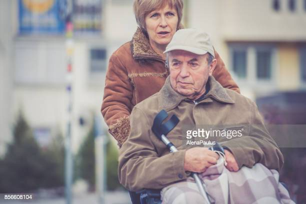 Senior Father and Daughter Winter walk