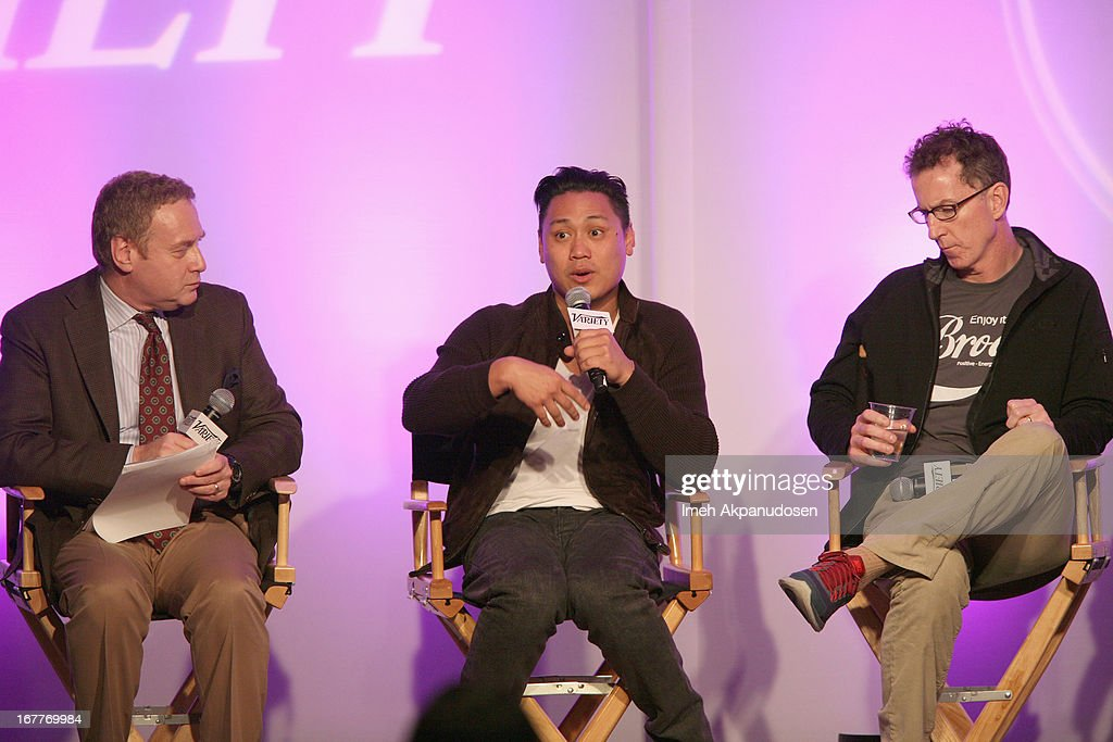 Senior Features Editor at Variety David Cohen, Director and Creator of DS2S10 on YouTube Jon M. Chu andCreator of Tosh.0 Mike Gibbons speak onstage at Variety's Spring 2013 Entertainment and Technology Summit Co-Produced with Digital Hollywood at Ritz Carlton Marina Del Rey on April 29, 2013 in Marina del Rey, California.