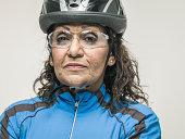 Senior female cyclist