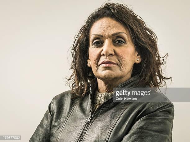 Senior female in leather kjacket