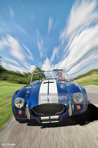 senior female racing down road
