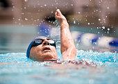 Senior female swimming