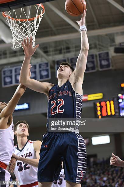 SMC senior forward Dane Pineau goes up to score during the game between the Saint Mary's Gaels and the Gonzaga Bulldogs on January 14 2017 at the...