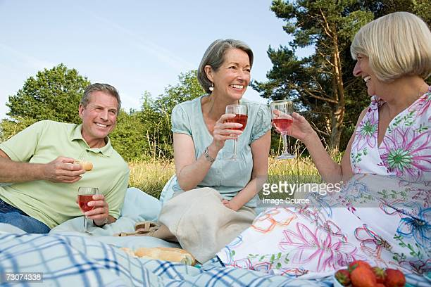 Senior friends having a picnic
