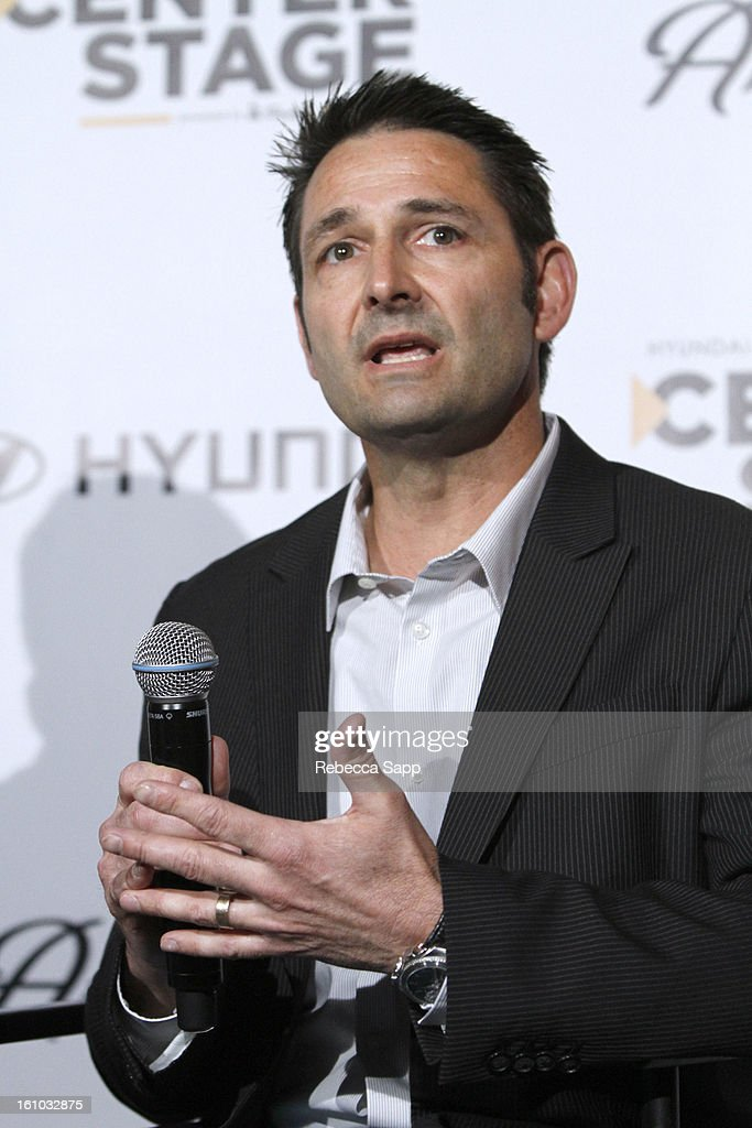Senior Group Manager of New Media for Hyundai Jon Budd during a special announcement by Linkin Park's Mike Shinoda at the Start Up Village/Social Media Summit at The Conga Room at LA Live on February 8, 2013 in Los Angeles, California.