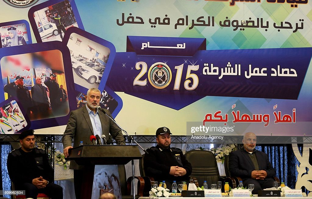Senior Hamas leader Ismail Haniyeh delivers a speech during 2015 Police Department Activities' Ceremony at Gaza Police Headquarters in Gaza City, Gaza on February 13, 2016.