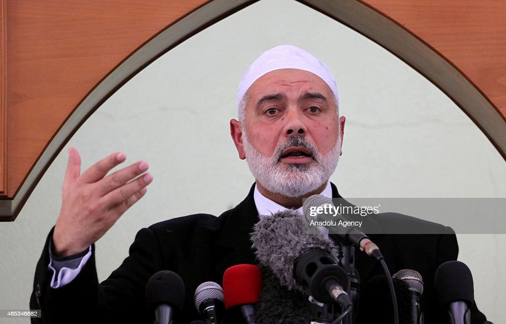 Senior Hamas leader <a gi-track='captionPersonalityLinkClicked' href=/galleries/search?phrase=Ismail+Haniyeh&family=editorial&specificpeople=543410 ng-click='$event.stopPropagation()'>Ismail Haniyeh</a> gives a speech before the Friday prayer at al-Katibah Mosque in Gaza City on March 06, 2015. Haniyeh on Friday said a recent Egyptian court decision to designate the Hamas a 'terrorist organization' would have 'no political implications.'